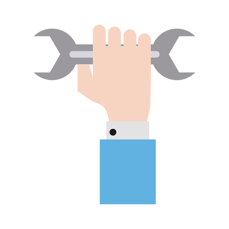 Hand holding wrench tool icon image vector illustration design Illustration