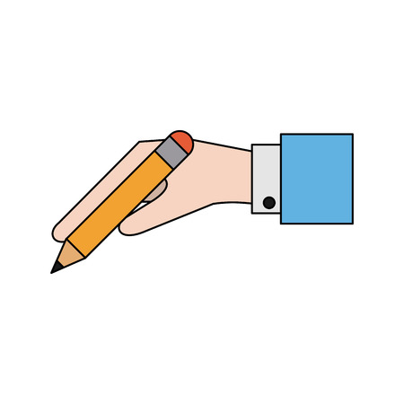 Hand holding pencil with eraser icon image vector illustration design