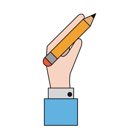 secretarial: Hand holding pencil with eraser icon image vector illustration design