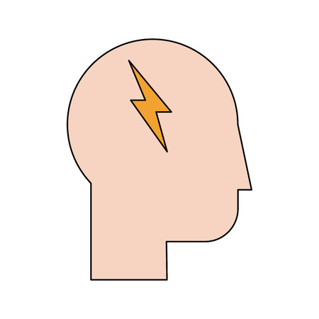smart boy: Human head profile sideview with lightning ray inside icon image vector illustration design