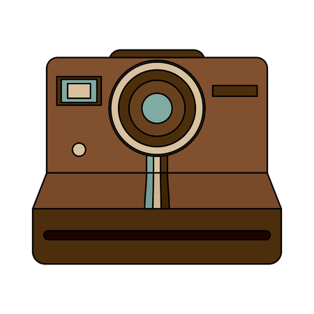 Instant film photographic camera icon image vector illustration design