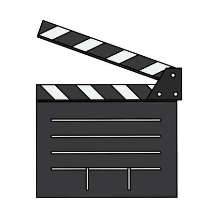 film industry: Open clapperboard icon image vector illustration design