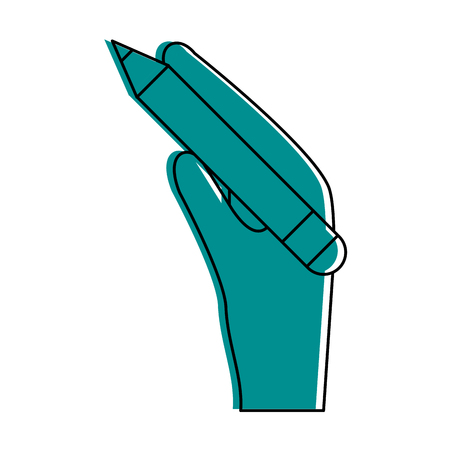 Hand holding pencil with eraser icon image vector illustration design  blue color
