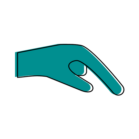 Hand pointing with index finger sideview icon image vector illustration design  blue color
