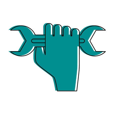 Hand holding wrench tool icon image vector illustration design  blue color