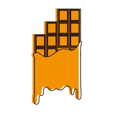 Melting chocolate bar icon image vector illustration design  yellow color