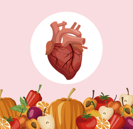 color background with border vegetables and fruits healthy food to heart organ vector illustration