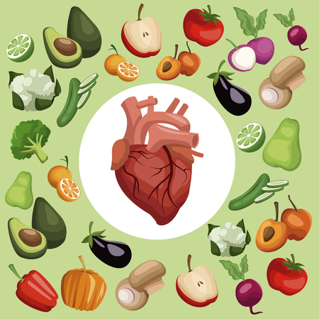 Color background with pattern vegetables and fruits healthy food set with circular frame heart organ in center vector illustration Illustration