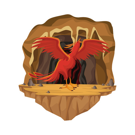 Cave interior scene with phoenix greek mythological creature vector illustration Çizim