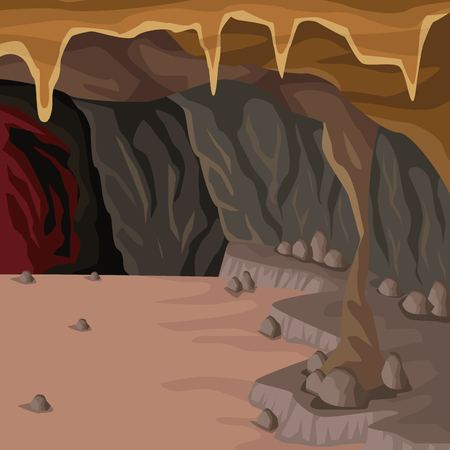 Cave interior background in deep mountain vector illustration
