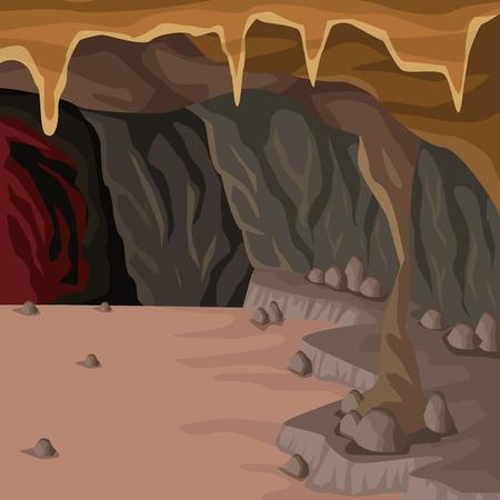 Höhle innen Hintergrund im tiefen Berg Vektor-Illustration Vektorgrafik