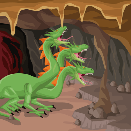Cave interior background with hydra mythological creature vector illustration