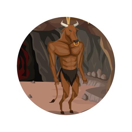 Circular frame with cave interior scene and minotaur greek mythological creature vector illustration