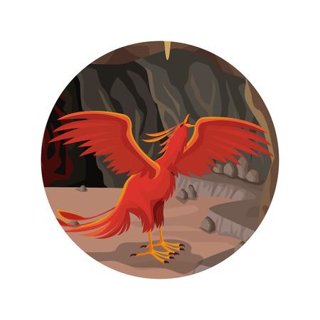 mythical phoenix bird: circular frame with cave interior scene and phoenix greek mythological creature vector illustration