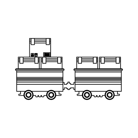 freight train: cargo train with cardboard boxes side view container vector illustration Illustration