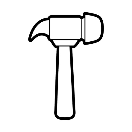 install: Flat line  hammer uncolored over white background vector illustration