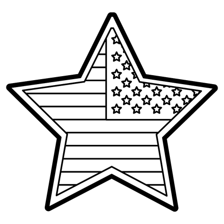 starfield: Flat line uncolored star with USA flag over white background vector illustration