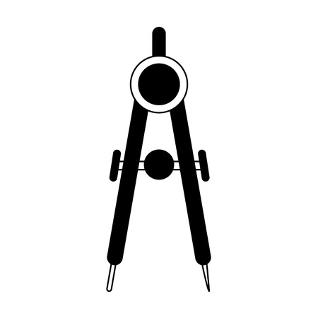 drawing compass icon image vector illustration design  black and white