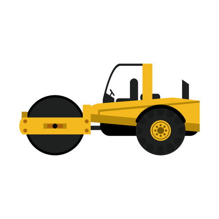 quarry: steamroller construction heavy machinery icon image vector illustration design