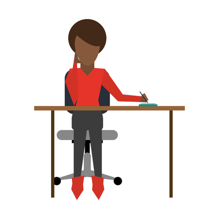 associates: dark skin woman working on desk frontview icon image vector illustration design