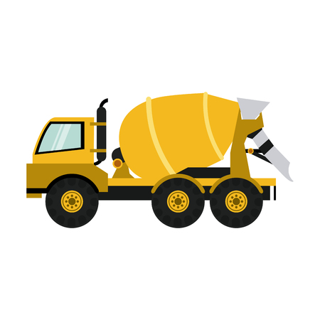excavation: cement truck construction heavy machinery icon image vector illustration design Illustration