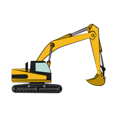 backhoe construction heavy machinery icon image vector illustration design Illustration