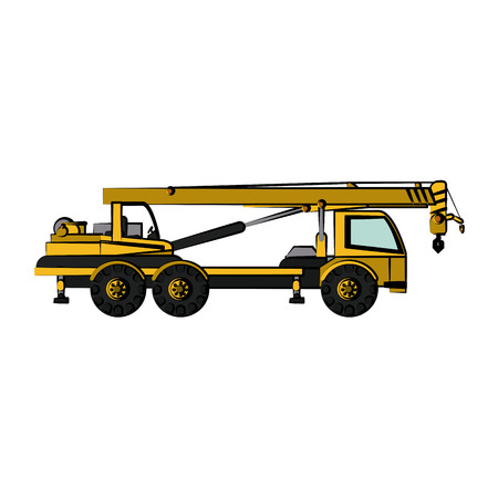 crane truck construction heavy machinery icon image vector illustration design Illustration