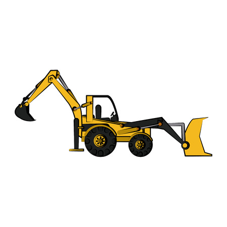 excavation: backhoe construction heavy machinery icon image vector illustration design Illustration