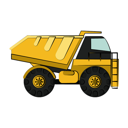 earth mover: dump truck construction heavy machinery icon image vector illustration design