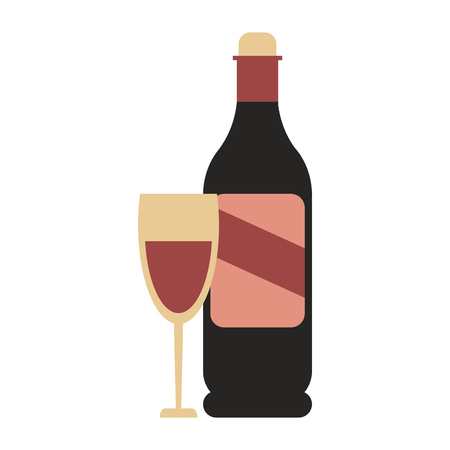 Wine bottle and glass icon image vector illustration design Illustration