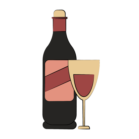 wine bottle and glass icon image vector illustration design Stock Vector - 84671955