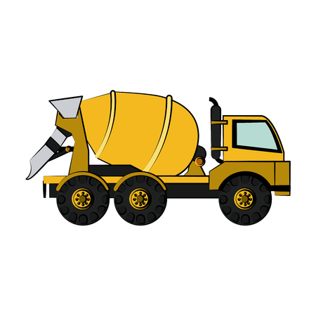 quarry: cement truck construction heavy machinery icon image vector illustration design Illustration