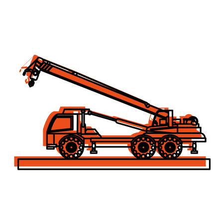 crane truck construction heavy machinery icon image vector illustration design  orange color
