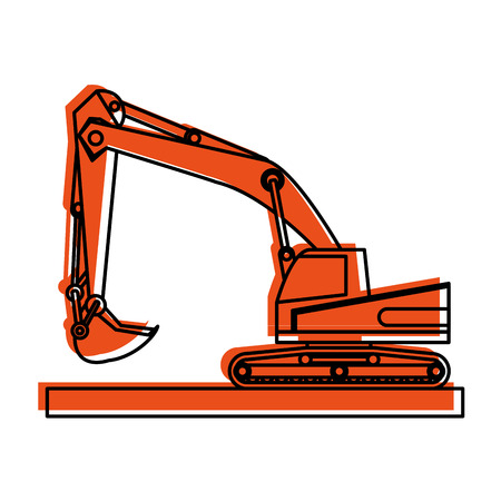 backhoe construction heavy machinery icon image vector illustration design  orange color