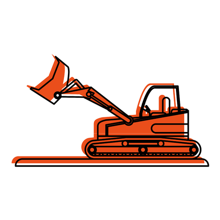 excavation: backhoe construction heavy machinery icon image vector illustration design  orange color
