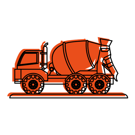 excavation: cement truck construction heavy machinery icon image vector illustration design  orange color