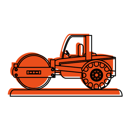 excavation: steamroller construction heavy machinery icon image vector illustration design  orange color
