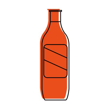 bottle with blank label icon image vector illustration design  orange color