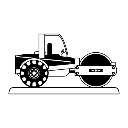 earth mover: Steamroller construction heavy machinery icon image vector illustration design Illustration