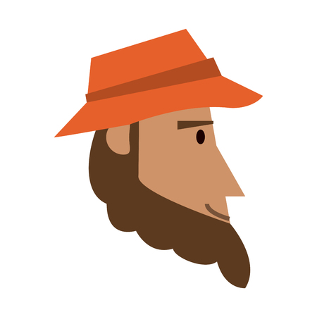 bearded man with hat sideview icon image vector illustration design Illustration