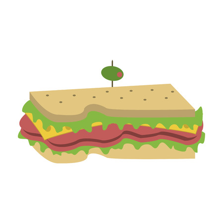 raw materials: sandwich with olive on top icon image vector illustration design
