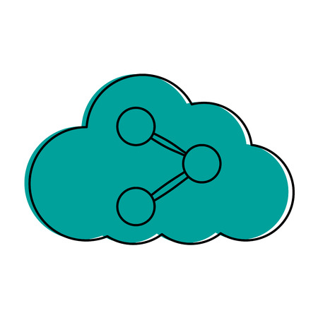 cloud storage with usb icon image vector illustration design  blue color Illustration