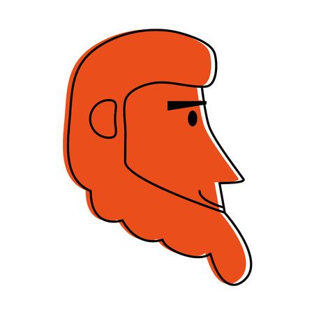 happy bearded man  sideview icon image vector illustration design  orange color Illustration