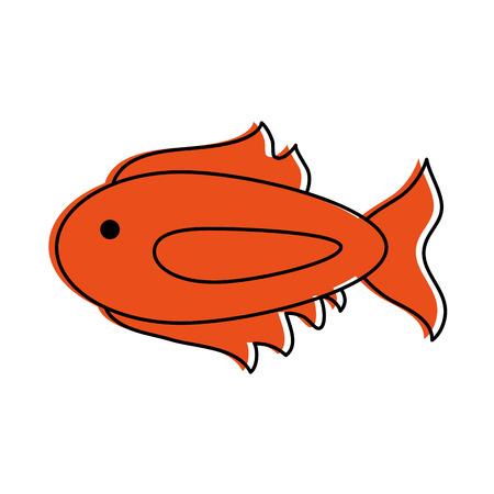 cartoon fish icon image vector illustration design  orange color