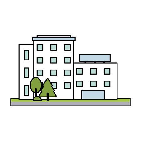 흰색 도시 건물 아이콘 이미지 벡터 일러스트 디자인