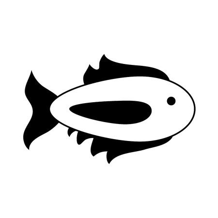 Dessin animé poisson icône image vector illustration design noir et blanc Banque d'images - 84683628