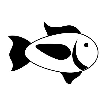 cartoon fish icon image vector illustration design  black and white Ilustração