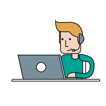 call center online support telemarketing worker with headset icon image vector illustration design Illustration