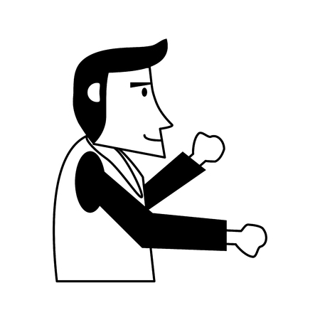 happy man  sideview icon image vector illustration design  black and white Illustration