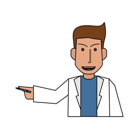 doctor or physician explaining with hand  icon image vector illustration design